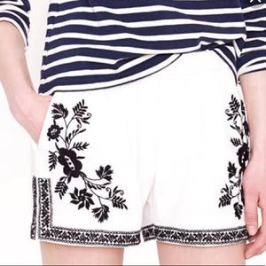 J Crew Embroidered White Black Lined Shorts